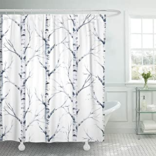 Emvency Shower Curtain Waterproof Decorative Bathroom 72 x 78 inches Black Winter Watercolor Birch Tree Forest Blue Branch Abstract Animal Bird Cardinal Polyester Fabric Set with Hooks