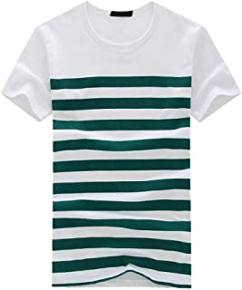 Cloudro Summer Shirts Mens Stripe Print Short Sleeve Pullover Blouse Tee for Teen