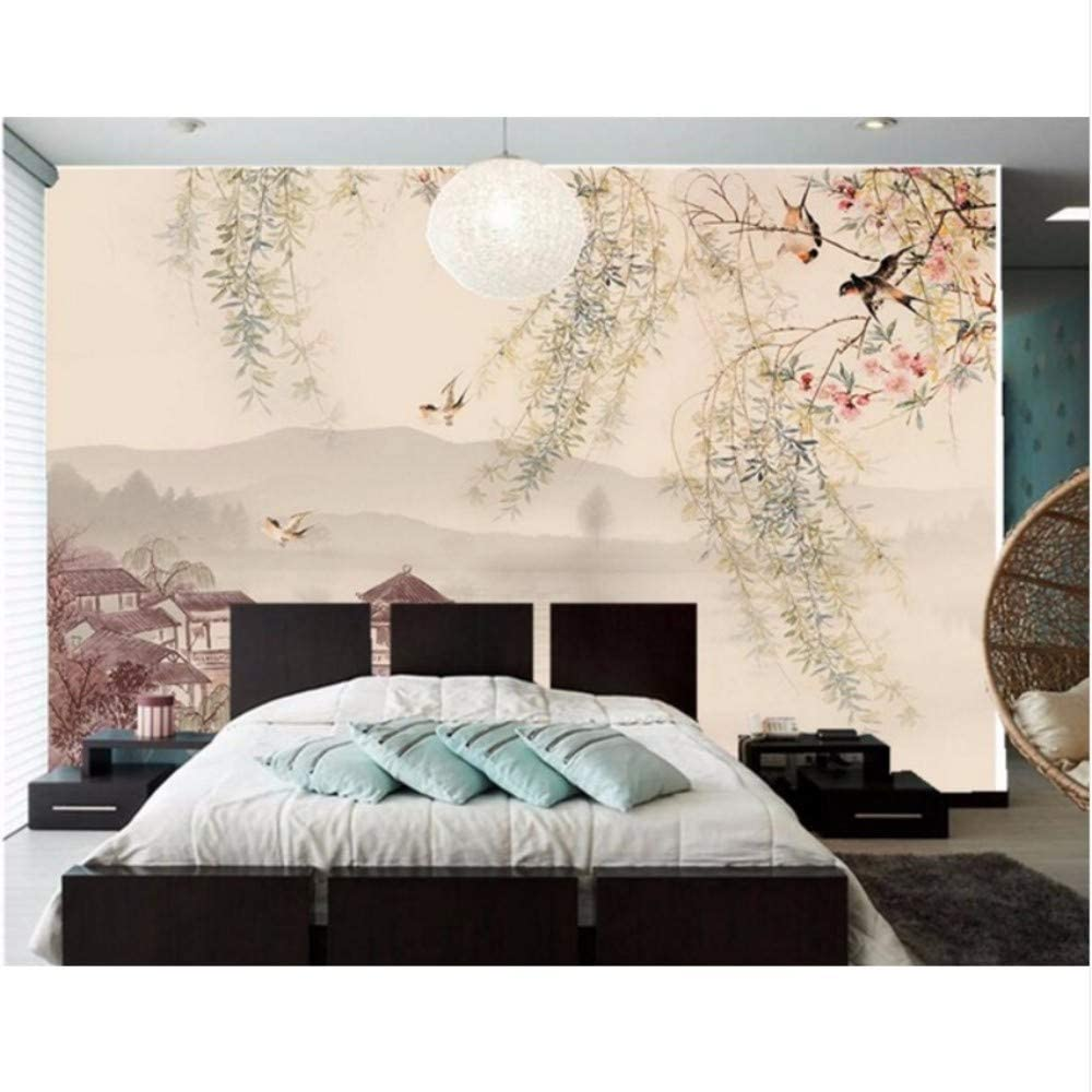 Amazon Com Pbldb Custom 3d Mural Willow Tree Swallows The Traditional Chinese Painting Wallpaper Living Room Tv Sofa Wall Bedroom 350x250cm Furniture Decor