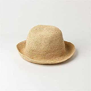 Nuoke Spring and Summer Handmade Crochet Raffia Fisherman Hat Ladies Foldable Lafite Basin Type Small Round Hat Visor (Color : Yellow, Size : M)