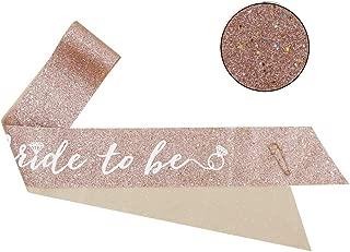 Mity rain Rose Gold Glitter Bachelorette Party Sash/Bride To Be Sash/Bridal Shower Sash Gift/Engagement Party Decoration/Bachelorette Party Supplies
