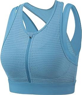 Sports Bra Front Zipper Shockproof Sports Underwear Mesh Breathable Black Vest Professional High-Intensity Fitness Bra (Co...