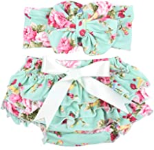 Baby Girl Bloomer and Headband Set with Big Bow
