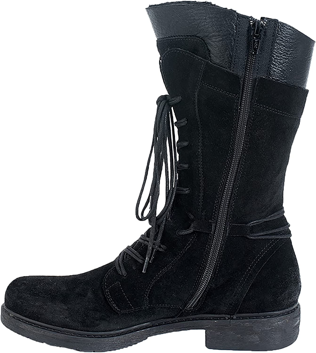 Women's Ankle Lace 5 Sales results No. 1 popular Up Military Combat Pu Mid Calf Booties Boots