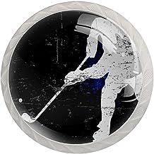Lade knop Pull handvat 4 stuks Crystal Glass Cabinet lade trekt kast knopen,Vintage ijs hockey speler