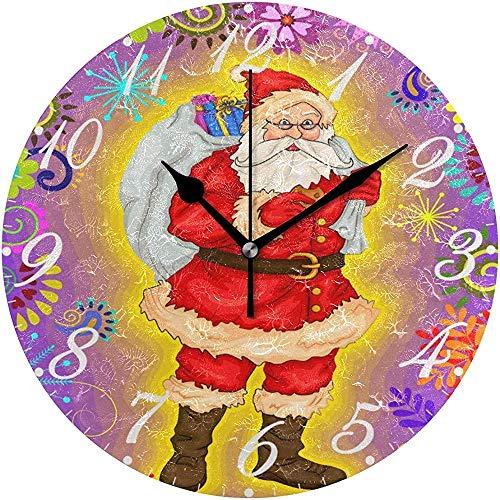 L.Fenn Diameter Vrolijk Kerstmis sneeuwman Kerstman winter sneeuwvlok bloem stille wandklok rond decoratief patroon