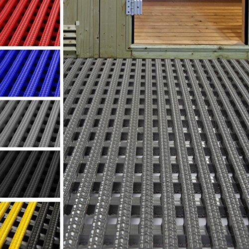etm Tapis antidérapant caillebotis PVC | idéal Surface Humide | Tapis intérieur extérieur, Tapis Industriel | multigrip, 90x300cm - Gris