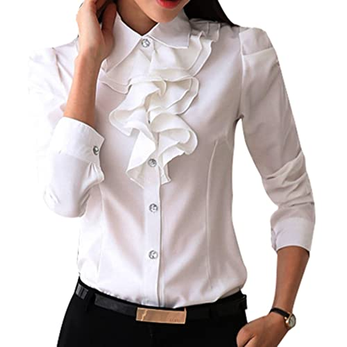 680cc76a0f9 Yasong Women Ladies Long Sleeve Formal Top Work Blouse Frill Ruffle Blouse