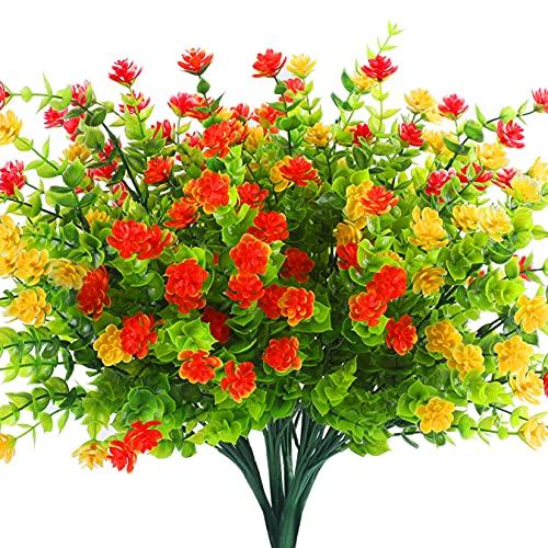 Alagirls Künstliche Blumen,8 Stück Kunstblumen Eukalyptus Deko UV-beständige Pflanzen Sträucher Plastik Blumenstrauß für Hausgarten Fenster Hochzeit Party Dekoration