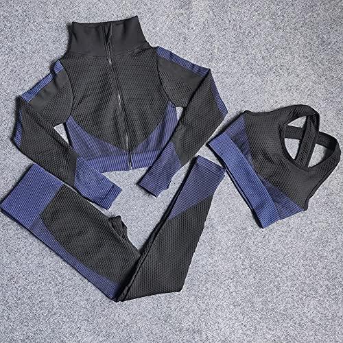 qqff Leggings Mallas Mujer Compresión Elástico,Traje Deportivo Baile,Traje Deportivo Yoga Traje Azul,L,Sin Costuras Push Pantalones Largos