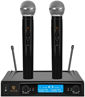 AKUSTIK Dual Channel Wireless Microphone System, UHF Fixed Frequency Cordless Handheld Mics Set with LCD Display, 200Ft Range, Professional Karaoke Machine for Karaoke, Wedding, Church, Conference, Cl