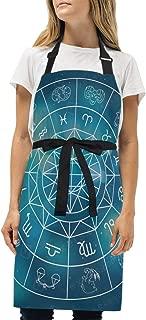 YIXKC Apron Horoscope Zodiac Signs Adjustable Neck with 2 Pockets Bib Apron for Family/Kitchen/Chef/Unisex