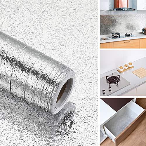iKINLO 61 x 500 cm Aluminium Folie Tapete Selbstklebende Küchenfolie Hitzebeständig Klebefolie Ölbeständige Wasserdicht DIY Möbel Folie für Küchen Schrank Möbel Tische, Typ-A