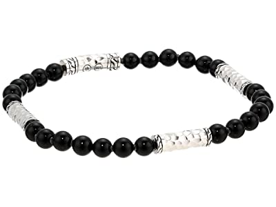 John Hardy Classic Chain Hammered Multi Station Bracelet with 5mm Black Onyx Beads (Silver) Bracelet