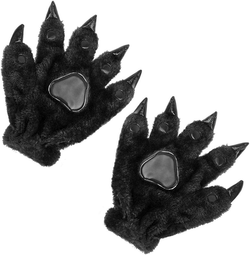 Adults Halloween Animal Costume Bear Cat Paw Claws Winter Warm Plush Gloves