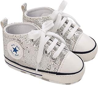 Infant bébé filles garçons chaussures en toile mode paillettes étoile première marche plat sport baskets 0-18 mois