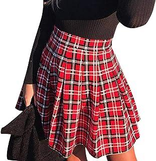 Yying Minifalda Femenina para niñas Harajuku Cintura Alta Patinadora Plisada Falda Corta de Tenis Falda de Costura Elegant...