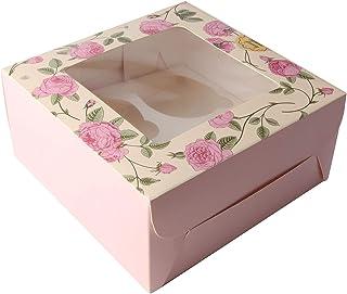 Accevo Cupcake Boxes, 15 x taartdozen 4 gaats met venster, geleverd met stickers, 16,0 x 16,0 x 7,5 cm, rozenbedrukte bakk...