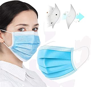 50pcs Face Masks Disposable 3 Layers Dustproof Mask Facial Protective Cover Masks Set Anti-Dust Surgical Medical Salon Earloop