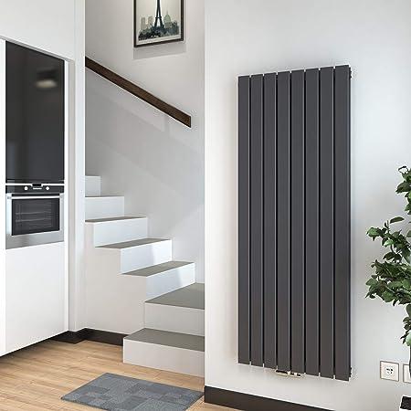 WELMAX Design Paneelheizk/örper 600 x 1180 mm Doppellagig Anthrazit Oval R/öhren Heizk/örper Seitenanschluss Horizontal Wohnzimmer//Badezimmer Heizk/örper Heizung