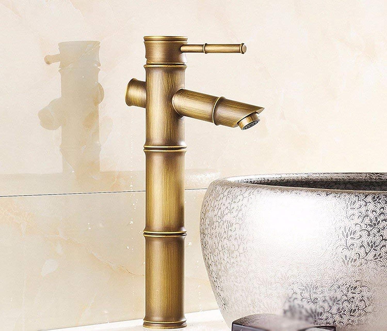 Oudan Basin Mixer Tap Bathroom Sink Faucet European retro style, copper, bamboo, basin, hot and cold, Single Hole Sink mixer 4 (color   8)