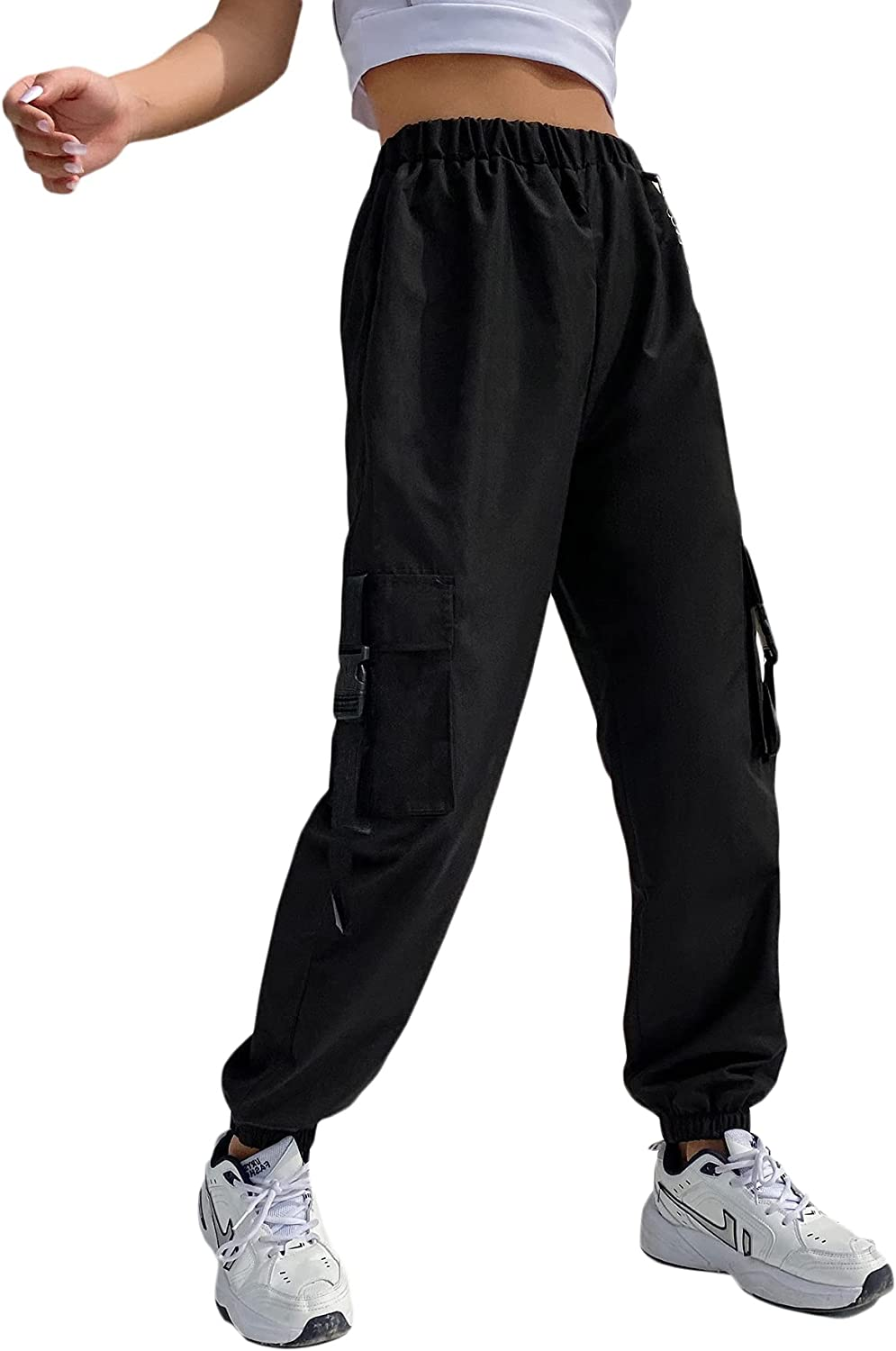 Floerns Women's Casual High Waisted Jogger Workout Cargo Pants with Pocket