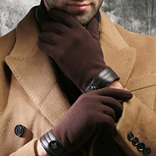 LJJOO Touch Screen Gloves Outdoor Riding Gloves Points to Thick Warm Flannel Touch Screen Driving Gloves (Color : Brown)