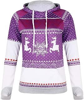 Buckerjun Explosion Models Christmas Zipper Printed Pocket Hooded Finger Sweater