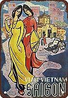 ベトナムサイゴンティンサインヴィンテージノベルティ面白い鉄の絵の金属板をご覧ください