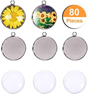 LANBEIDE Silver Pendant Trays for Jewelry Making Kits, 40 Pieces Stainless Steel Round Bezel with 40 Pcs Clear Cabochon Dome 25mm / 1 Inch Diameter (Total 80 Pcs)