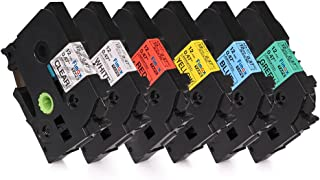 Fimax 6-Pack Compatible Label Tape Replacement for Brother tze-131 tze-231 tze-431 tze-531 tze-631 tze-731, 12mm 0.47 Laminated TZ Tape, for Brother P-Touch PT-D210 PTH110 PTD600 Label Maker