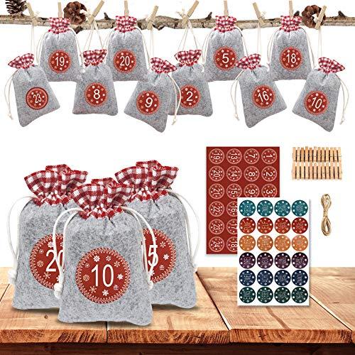 EYNOCA Calendario de Adviento para rellenar, bolsa de tela, 24 calendarios de Navidad, DIY Calendario de Adviento 2020, bolsas de regalo para hombres niños con pegatinas de 1 – 24 números de Adviento