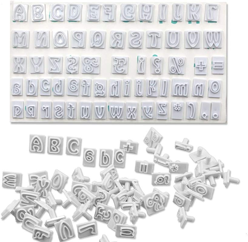 64PCS SET DIY Characters Upper Lower Case Alphabet Letters Cookie Cutter Plastic Fondant Cutter Baking Mold Cake Decorating Tool