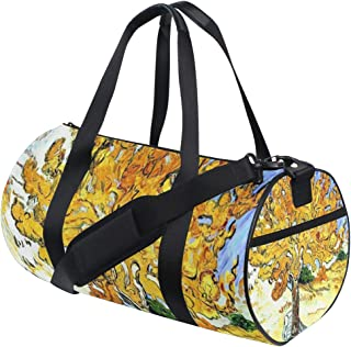 Duffel Bag Mulberry Tree Plant Oil Painting Yellow Blue Shoulder Yoga Gym Tote Badminton Bag for Men Boys