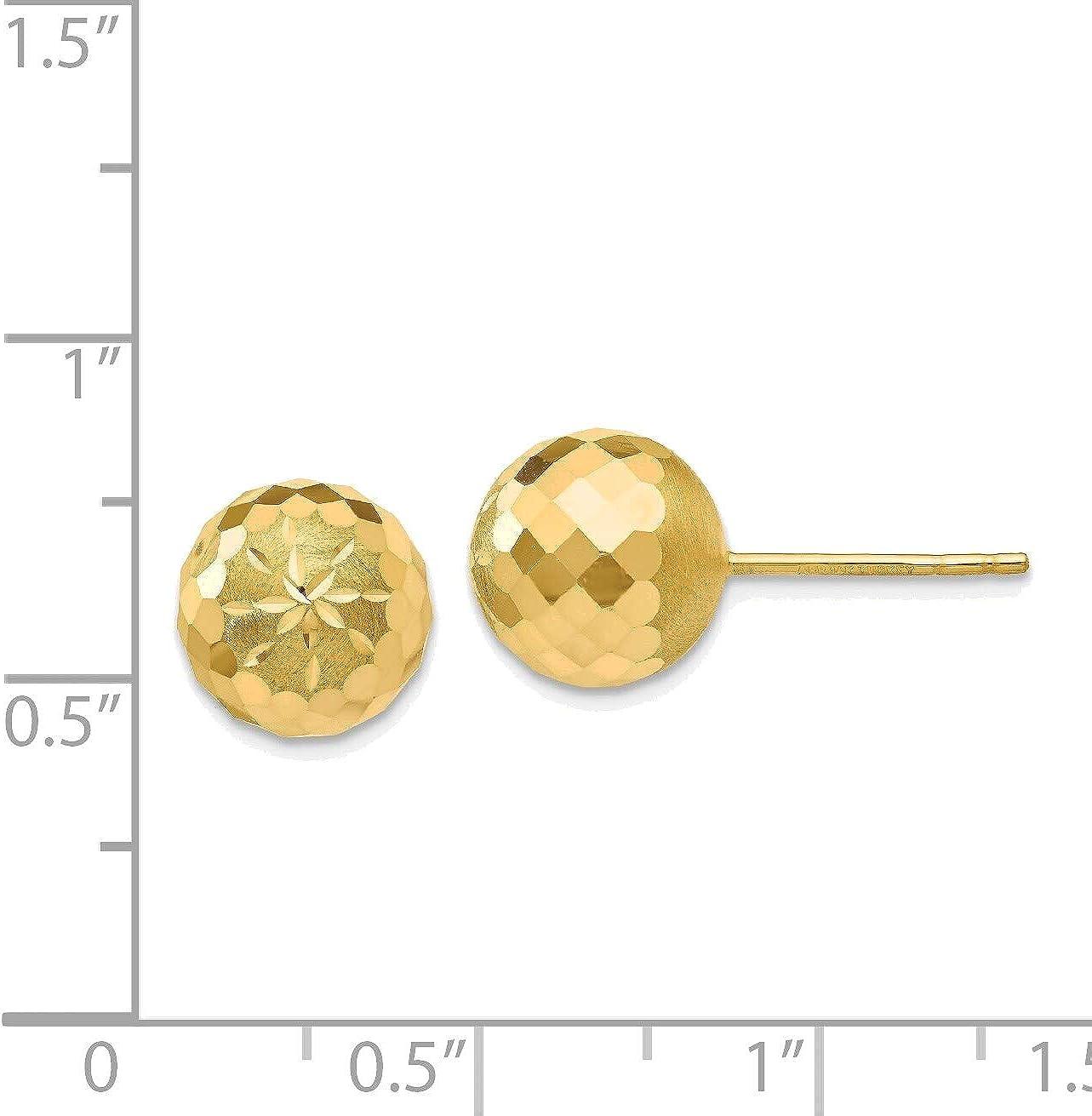 9mm Diamond-cut Mirror Ball Post Earrings in 14K Yellow Gold