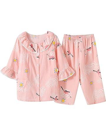 e65dc281a301f レディース パジャマ 花柄 上下セット 七分 夏用 半袖 可愛い 2重ガーセパジャマ 寝間着