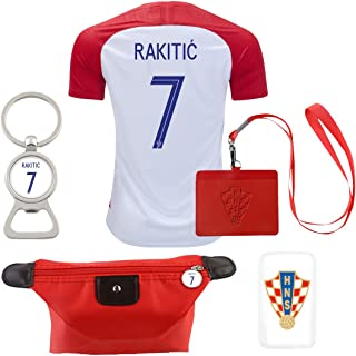 EE bestort Croatia #7 Rakitic 2018 Home Mens Soccer Jersey Color Plaid (X-Large)