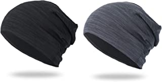 Hangyuan Slouchy Beanie Hat, 2-Pack Thin Summer Skull Cap Mens Womens Slouch Beanies Hats Headwear for Sport, Chemo, Cance...