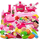Kimicare 58 Piece Kitchen Cooking Set Girls Boys Fruit Vegetable Tea Playset Toy for Kids Early Age Development Educational Pretend Play Food Assortment Set
