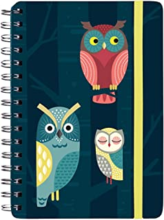 Notebook Night Owls with Spiral Binding Also Suitable as a Diary DIN A5 150 Pages Lined