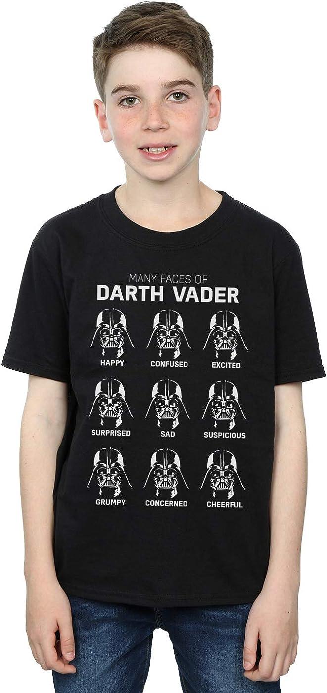 STAR WARS Boys The Many Faces of Darth Vader T-Shirt 7-8 Years Black