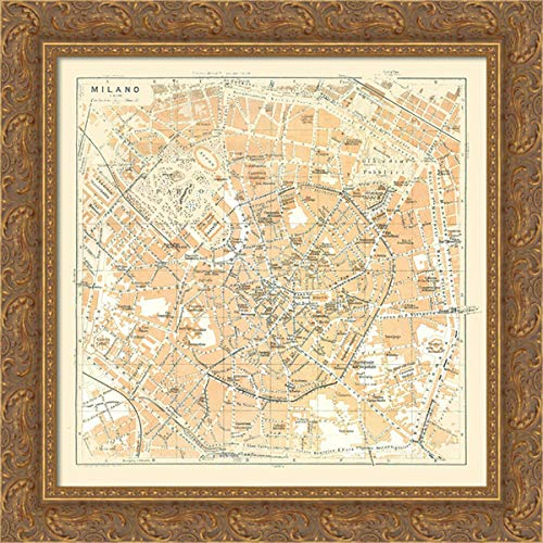 Bertarelli 29x28 Gold Ornate Framed Canvas Art Print Titled: Milan Italy - Bertarelli 1914 Map