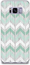 CasesByLorraine Samsung S8 Case, [Full Coverage Screen Protector Included-NOT Glass] Mint Green Chevron Geometric Wood Print Case Flexible TPU Soft Gel Protective Cover for Samsung Galaxy S8 (GS01)