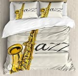 Ambesonne Music Duvet Cover Set, Classic Painting of Jazz Saxophone Print on Plain Background Vintage Style Sketch, Decorative 3 Piece Bedding Set with 2 Pillow Shams, Queen Size, Yellow Ecru