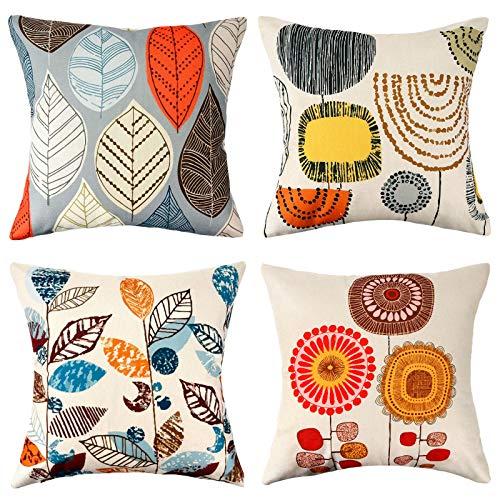 Fundas de Almohada 45 cm x 45 cm Fundas 18 x 18 Pulgadas Almohadas Decorativas algodón Lino Flores Plantas patrón de Granja Cojines de sofá para sofá sofá Sala de Estar