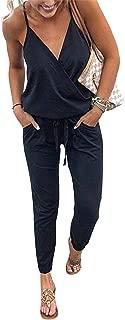Women's V Neck Spaghetti Strap Drawstring Waisted Long Pants Jumpsuit Rompers