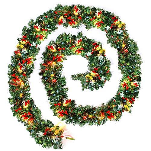 DWDMZ - Guirnalda decorativa de Navidad con luces para pared o escalera, 2,7 m, corona artificial, para interiores y exteriores, decoración de Navidad con luces para pared y puerta