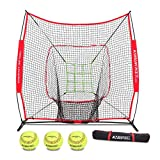 Rukket 7x7 Baseball & Softball Net, Practice Hitting, Pitching, Batting and Catching, Backstop Screen Equipment Training Aids, Includes Carry Bag (7x7ft Net & Bag)