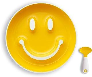 Munchkin Smile 'n Scoop Set de cuchara y plato con ventosa, amarillo