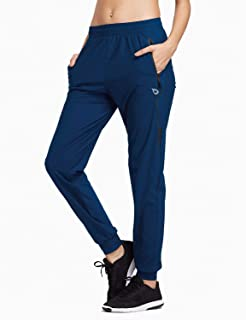 EVO Women's Athletic Joggers Pants Dry Fit Running Sweat Pants Zipper Pockets Lightweight Sports Yoga Track Pants